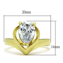 Load image into Gallery viewer, TK389G - IP Gold(Ion Plating) Stainless Steel Ring with AAA Grade CZ  in Clear