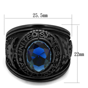TK414708J - IP Black(Ion Plating) Stainless Steel Ring with Synthetic Synthetic Glass in Sapphire