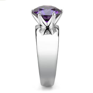 TK52002 - High polished (no plating) Stainless Steel Ring with AAA Grade CZ  in Amethyst