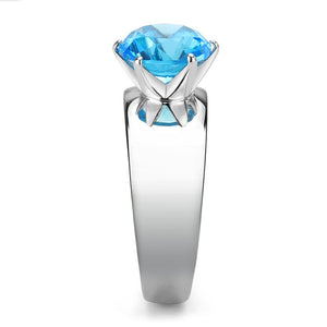 TK52003 - High polished (no plating) Stainless Steel Ring with Synthetic Synthetic Glass in Sea Blue