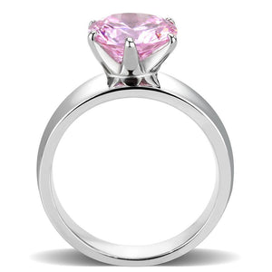 TK52010 - High polished (no plating) Stainless Steel Ring with AAA Grade CZ  in Rose