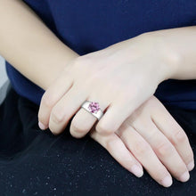 Load image into Gallery viewer, TK52010 - High polished (no plating) Stainless Steel Ring with AAA Grade CZ  in Rose
