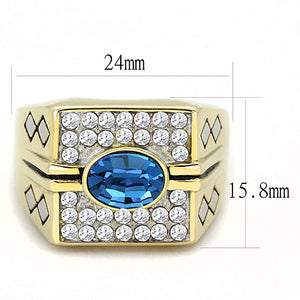 TK752 - Two-Tone IP Gold (Ion Plating) Stainless Steel Ring with Top Grade Crystal  in Montana