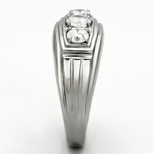 TK946 - High polished (no plating) Stainless Steel Ring with AAA Grade CZ  in Clear