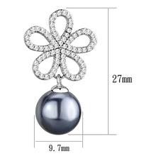 Load image into Gallery viewer, TS290 - Rhodium 925 Sterling Silver Earrings with Synthetic Pearl in Light Gray