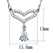 Load image into Gallery viewer, TS484 - Rhodium 925 Sterling Silver Necklace with AAA Grade CZ  in Clear