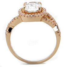 Load image into Gallery viewer, TS489 - Rose Gold 925 Sterling Silver Ring with AAA Grade CZ  in Clear