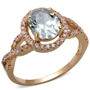 TS489 - Rose Gold 925 Sterling Silver Ring with AAA Grade CZ  in Clear