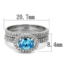 Load image into Gallery viewer, TS490 - Rhodium 925 Sterling Silver Ring with AAA Grade CZ  in Sea Blue