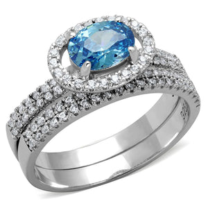 TS490 - Rhodium 925 Sterling Silver Ring with AAA Grade CZ  in Sea Blue