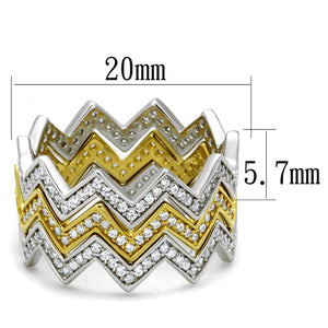 TS492 - Gold+Rhodium 925 Sterling Silver Ring with AAA Grade CZ  in Clear
