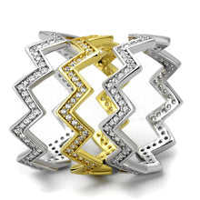 Load image into Gallery viewer, TS492 - Gold+Rhodium 925 Sterling Silver Ring with AAA Grade CZ  in Clear