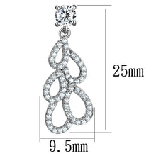 Load image into Gallery viewer, TS496 - Rhodium 925 Sterling Silver Earrings with AAA Grade CZ  in Clear