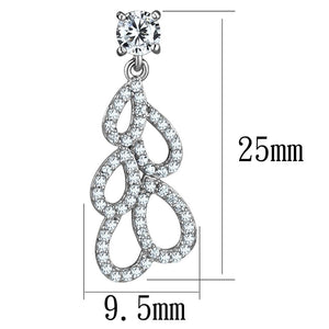 TS496 - Rhodium 925 Sterling Silver Earrings with AAA Grade CZ  in Clear