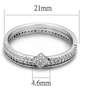TS498 - Rhodium 925 Sterling Silver Ring with AAA Grade CZ  in Clear