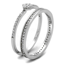 Load image into Gallery viewer, TS498 - Rhodium 925 Sterling Silver Ring with AAA Grade CZ  in Clear