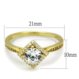 TS500 - Gold 925 Sterling Silver Ring with AAA Grade CZ  in Clear