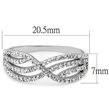 Load image into Gallery viewer, TS516 - Rhodium 925 Sterling Silver Ring with AAA Grade CZ  in Clear
