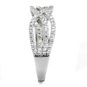 TS516 - Rhodium 925 Sterling Silver Ring with AAA Grade CZ  in Clear