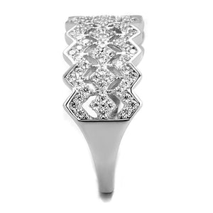 TS517 - Rhodium 925 Sterling Silver Ring with AAA Grade CZ  in Clear