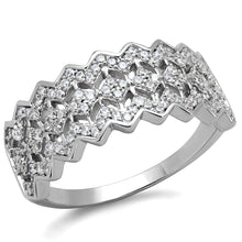 Load image into Gallery viewer, TS517 - Rhodium 925 Sterling Silver Ring with AAA Grade CZ  in Clear