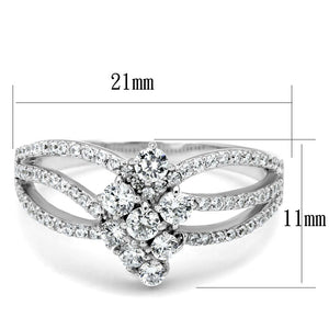 TS528 - Rhodium 925 Sterling Silver Ring with AAA Grade CZ  in Clear
