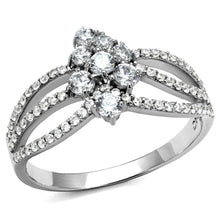 Load image into Gallery viewer, TS528 - Rhodium 925 Sterling Silver Ring with AAA Grade CZ  in Clear