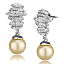 Load image into Gallery viewer, TS531 - Rhodium 925 Sterling Silver Earrings with Synthetic Pearl in Topaz