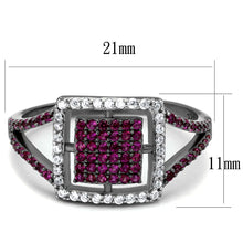 Load image into Gallery viewer, TS533 - Rhodium + Ruthenium 925 Sterling Silver Ring with AAA Grade CZ  in Ruby
