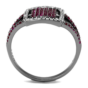 TS533 - Rhodium + Ruthenium 925 Sterling Silver Ring with AAA Grade CZ  in Ruby