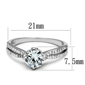 TS537 - Rhodium 925 Sterling Silver Ring with AAA Grade CZ  in Clear