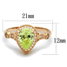 Load image into Gallery viewer, TS538 - Rose Gold 925 Sterling Silver Ring with AAA Grade CZ  in Apple Green color
