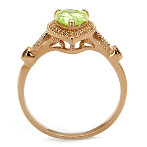 TS538 - Rose Gold 925 Sterling Silver Ring with AAA Grade CZ  in Apple Green color