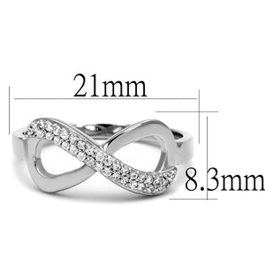 TS541 - Rhodium 925 Sterling Silver Ring with AAA Grade CZ  in Clear