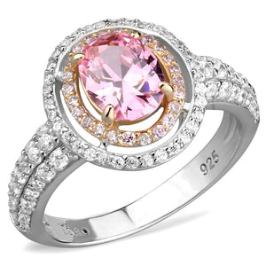 TS543 - Rose Gold + Rhodium 925 Sterling Silver Ring with AAA Grade CZ  in Rose