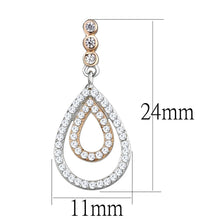 Load image into Gallery viewer, TS548 - Rose Gold + Rhodium 925 Sterling Silver Earrings with AAA Grade CZ  in Clear