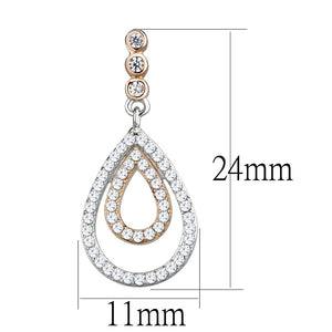 TS548 - Rose Gold + Rhodium 925 Sterling Silver Earrings with AAA Grade CZ  in Clear