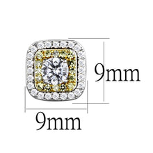 Load image into Gallery viewer, TS551 - Reverse Two-Tone 925 Sterling Silver Earrings with AAA Grade CZ  in Clear