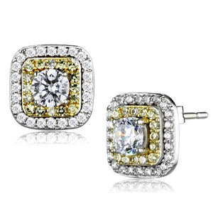 TS551 - Reverse Two-Tone 925 Sterling Silver Earrings with AAA Grade CZ  in Clear