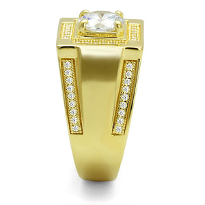 TS552 - Gold 925 Sterling Silver Ring with AAA Grade CZ  in Clear