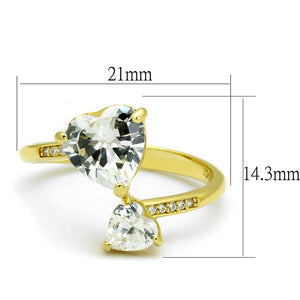 TS555 - Gold 925 Sterling Silver Ring with AAA Grade CZ  in Clear