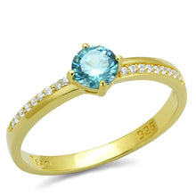 Load image into Gallery viewer, TS561 - Gold 925 Sterling Silver Ring with AAA Grade CZ  in Sea Blue