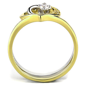 TS565 - Gold+Rhodium 925 Sterling Silver Ring with AAA Grade CZ  in Clear