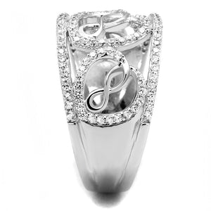 TS573 - Rhodium 925 Sterling Silver Ring with AAA Grade CZ  in Clear