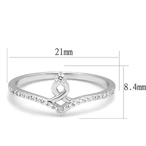 TS583 - Rhodium 925 Sterling Silver Ring with AAA Grade CZ  in Clear