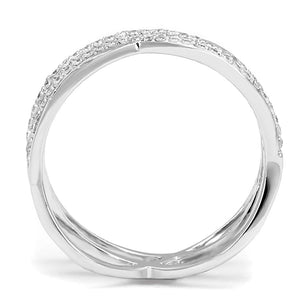 TS602 - Rhodium 925 Sterling Silver Ring with AAA Grade CZ  in Clear