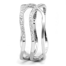 Load image into Gallery viewer, TS602 - Rhodium 925 Sterling Silver Ring with AAA Grade CZ  in Clear