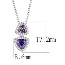 Load image into Gallery viewer, TS607 - Rhodium 925 Sterling Silver Chain Pendant with AAA Grade CZ  in Amethyst