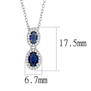 TS608 - Rhodium 925 Sterling Silver Chain Pendant with Synthetic Synthetic Glass in Montana