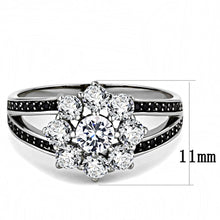 Load image into Gallery viewer, TS611 - Ruthenium 925 Sterling Silver Ring with AAA Grade CZ  in Clear